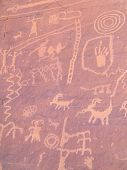 stock photo of valley fire  - Prehistoric rock paintings in the Valley of Fire Nevada USA - JPG