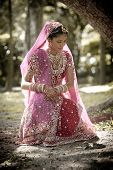 image of indian beautiful people  - Young beautiful Hindu Indian bride in traditional gown outdoors in garden - JPG