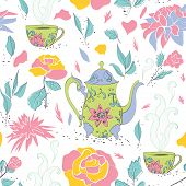 stock photo of teapot  - Seamless pattern with hand drawn tea mug and teapot with floral pattern surrounded by flowers and tea leaves - JPG