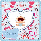 picture of crying boy  - Vector illustration of Cartoon baby boy crying card - JPG