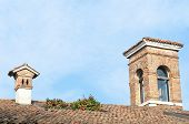pic of smoker  - roof of the house of the tile with a smoker - JPG