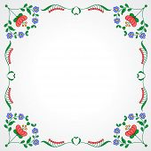 picture of hungarian  - Traditional Hungarian embroidery frame with floral patterns - JPG