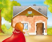 foto of little red riding hood  - Little Red Riding Hood is going into granny - JPG