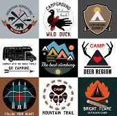 stock photo of tent  - Set of vintage camping logos.