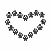 picture of paw  - Paw prints in the shape of heart isolated on white background - JPG