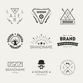 Retro vintage insignias or logotypes set. Vector design elements, business signs, logos, identity, labels, badges and objects foto.
