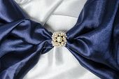 image of brooch  - brooch for scarf with a pearl with a silk scarf - JPG