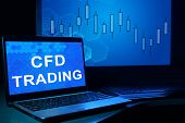 picture of trade  - Computer with words cfd trading - JPG