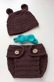 foto of baby bear  - handmade crochet bear costume for newborn baby with hat diaper and bow - JPG