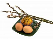 image of willow  - eggs and cake on a plate and willow - JPG