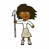 picture of spears  - retro comic book style cartoon woman with spear - JPG