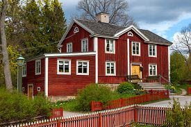 stock photo of shadoof  - The typical swedish wooden house in stockholm - JPG