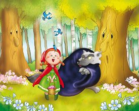 picture of little red riding hood  - Red riding hood is looking at some little blue birds in the wood when she meets the wolf - JPG