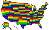 picture of united states map  - United states map with States covered with LGBT flag colors - JPG