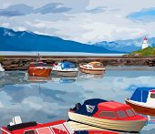 stock photo of fjord  - Harbour with boats on Norway fjord - JPG