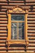 stock photo of siberia  - Detail of old wooden house in Tomsk Siberia Russia - JPG