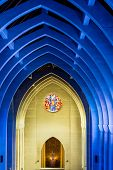 stock photo of altar  - View toward the altar in a church with arched ceiling - JPG