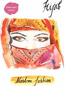 foto of hijabs  - The illustration of watercolor arabian woman in hijab - JPG