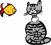 picture of laughable  - The illustration of grey cat and yellow fish - JPG