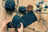 picture of special day  - Handmade gift for special day as mother day father day valentine day or wintertime heap of ball of wool to knit colorful scarf for cold day knitting to make meaningful present - JPG