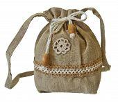 stock photo of macrame  - Retro handmade natural flax purse with crochet - JPG