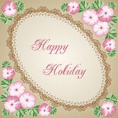 pic of geranium  - Vintage flower card with colorful geraniums and lace ellipse frame - JPG