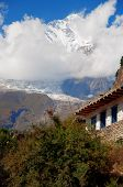 pic of mountain chain  - The Himalaya mountain peak with snow and amazing cloudy sky - JPG