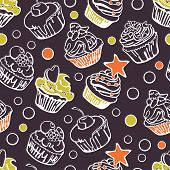 stock photo of cupcakes  - Collection of six cupcakes - JPG