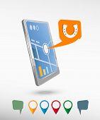 image of hoof prints  - Horseshoe and perspective smartphone vector realistic - JPG