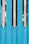 picture of wooden fence  - Wooden fence blue retro old white picket fence switch attached with fasteners - JPG