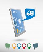 image of ambulance  - Ambulance icon and perspective smartphone vector realistic - JPG