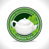 picture of teapot  - Green tea label with white teapot - JPG