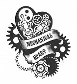 picture of mechanical drawing  - mechanical heart belted ribbons and decorated with metal parts in the style of steam punk badge on a white background - JPG