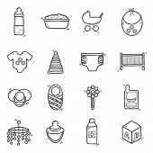 Постер, плакат: Set of cute hand drawn icons on baby theme Baby care concept with hand drawn objects: baby carriage