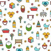 Постер, плакат: Seamless background with cute hand drawn objects on baby theme Baby care concept with hand drawn ob