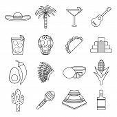 stock photo of sombrero  - Set of flat outline icons on Mexica theme - JPG
