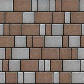 stock photo of paving  - Colorful Paving Imitating the Old Cobbles - JPG