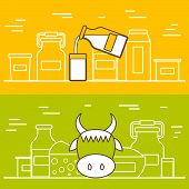 Постер, плакат: Milk products vector concept with flat objects