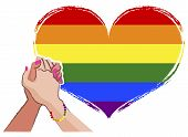 picture of gay flag  - LGBT concept with Rainbow gay pride flag in the background - JPG