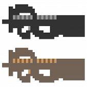 image of sub-machine-gun  - illustration vector isolate icon pixel art sub machine gun - JPG
