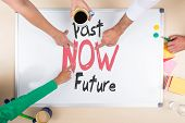 image of past future  - whiteboard with words past now future concept business three persons and top view - JPG
