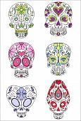 stock photo of day dead skull  - sugar skulls day of the dead vector illustration - JPG