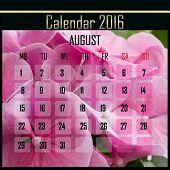 image of august calendar  - Floral 2016 calendar design for august month - JPG