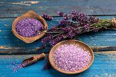 foto of salt-bowl  - bowl of lavender bath salt and lavender flower  - JPG