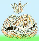 stock photo of arabian  - Saudi Arabian Riyal Indicating Forex Trading And Words - JPG