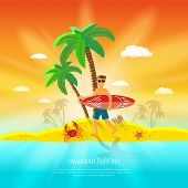 stock photo of beach shell art  - Surfing beach concept with surfer with board and palm on background flat vector illustration - JPG