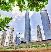 stock photo of skyscrapers  - Beautiful and office skyscrapers city building of Pudong Shanghai China - JPG