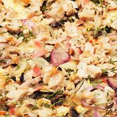 stock photo of hot fresh pizza  - fresh delicious italian pizza with pork - JPG