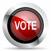 stock photo of voting  - vote red glossy web icon original modern design for web and mobile app on white background  - JPG