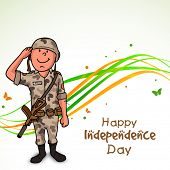 image of indian independence day  - Happy saluting soldier in uniform - JPG